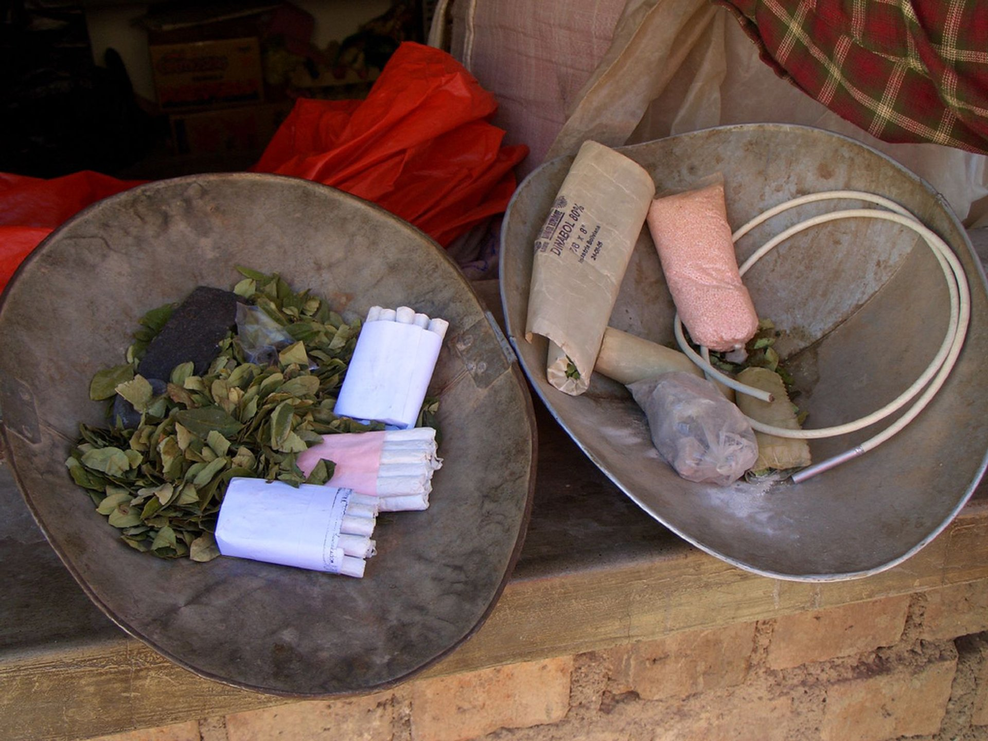 Before we went in we bought gifts for the miners. This included, coca leaves for chewing, hand rolled cigarettes, explosives, a detonator and a fuse! (c) 2019