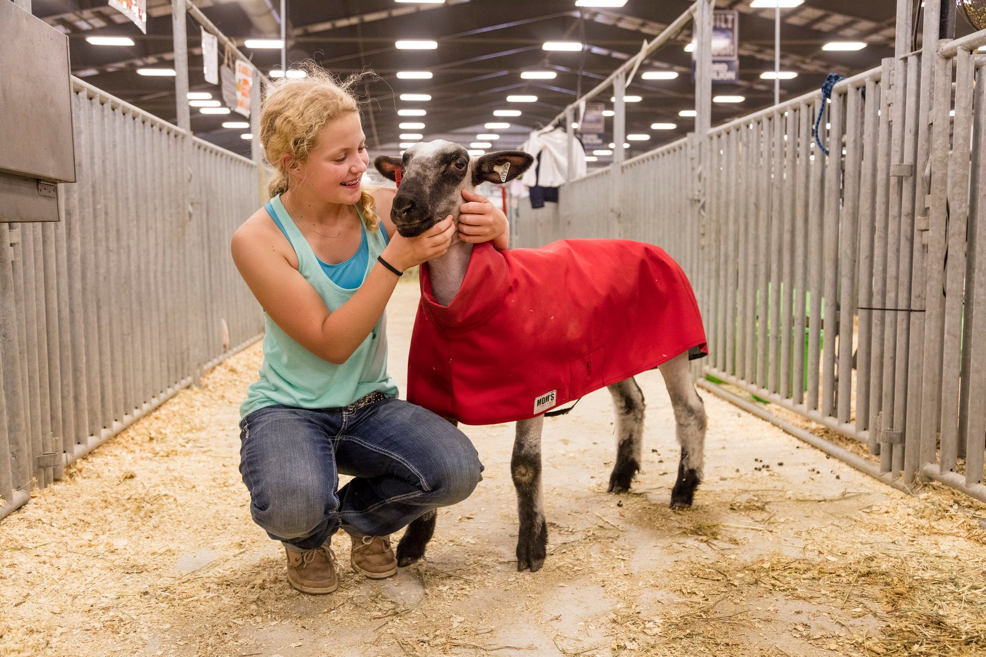 Young woman and her sheep, at the Wyoming State Fair in Douglas 2020