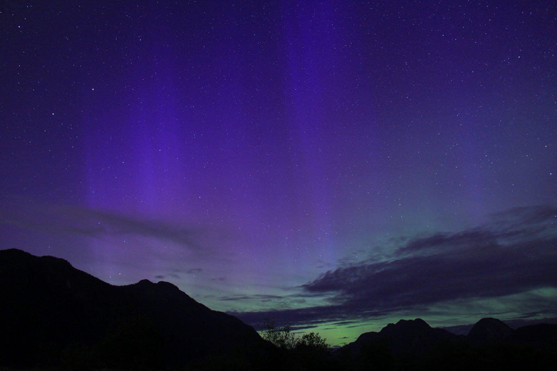 Northern Lights at Pitt Lake, near Vancouver BC 2020