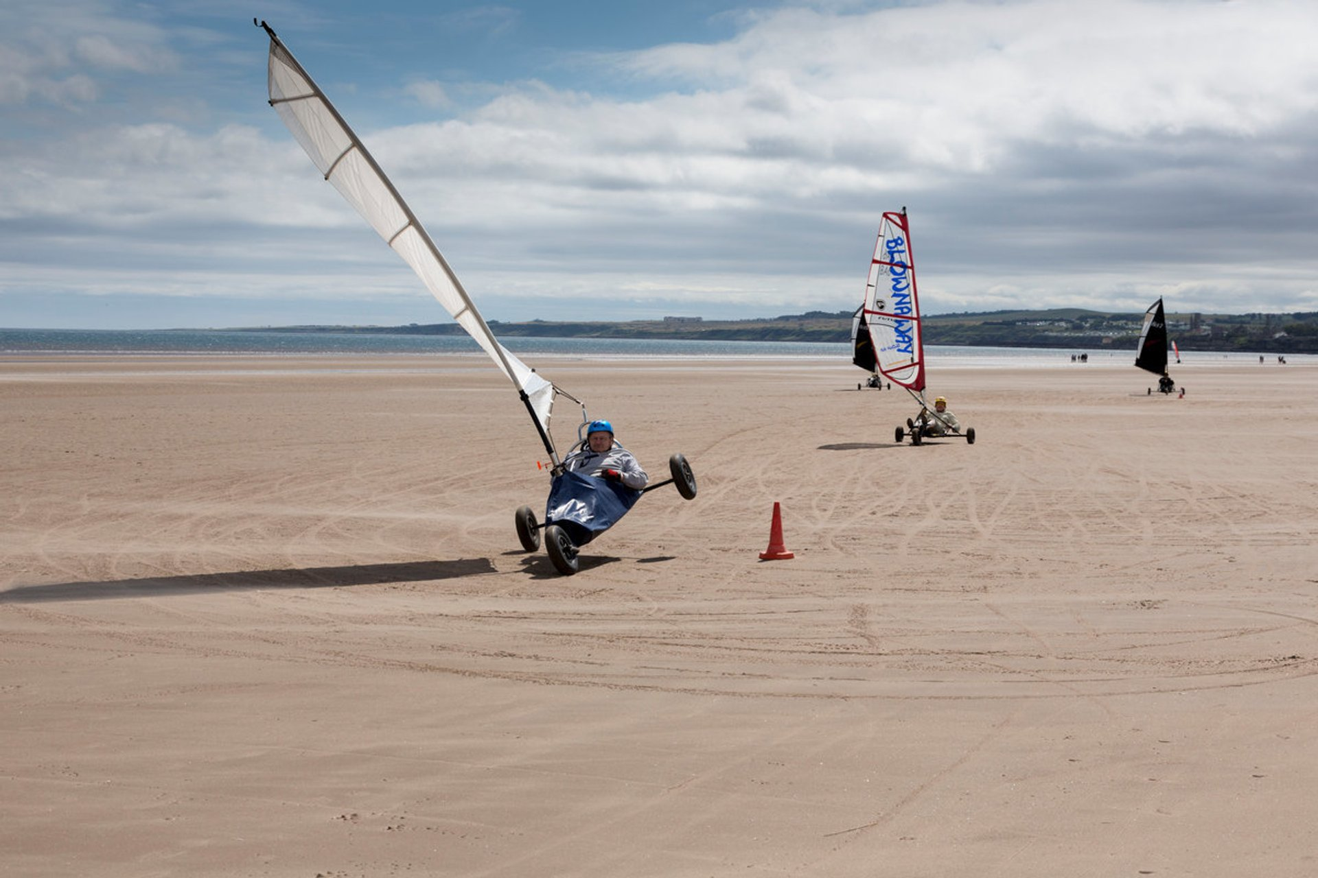 Land yachting on West Sands beach, St Andrews, Fife 2019