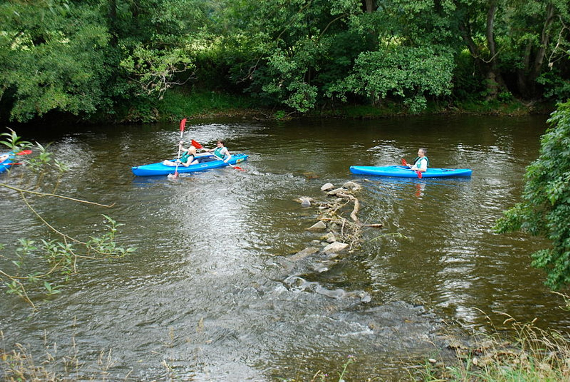 Kayaks on the Ourthe between Barvaux and Bomal 2020