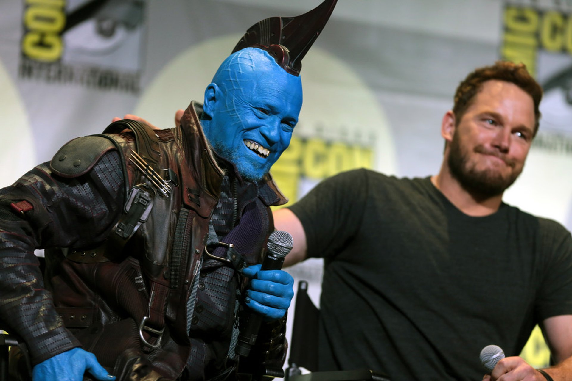 "Michael Rooker and Chris Pratt speaking at the 2016 San Diego Comic Con International, for ""Guardians of the Galaxy Vol. 2"" 2020"