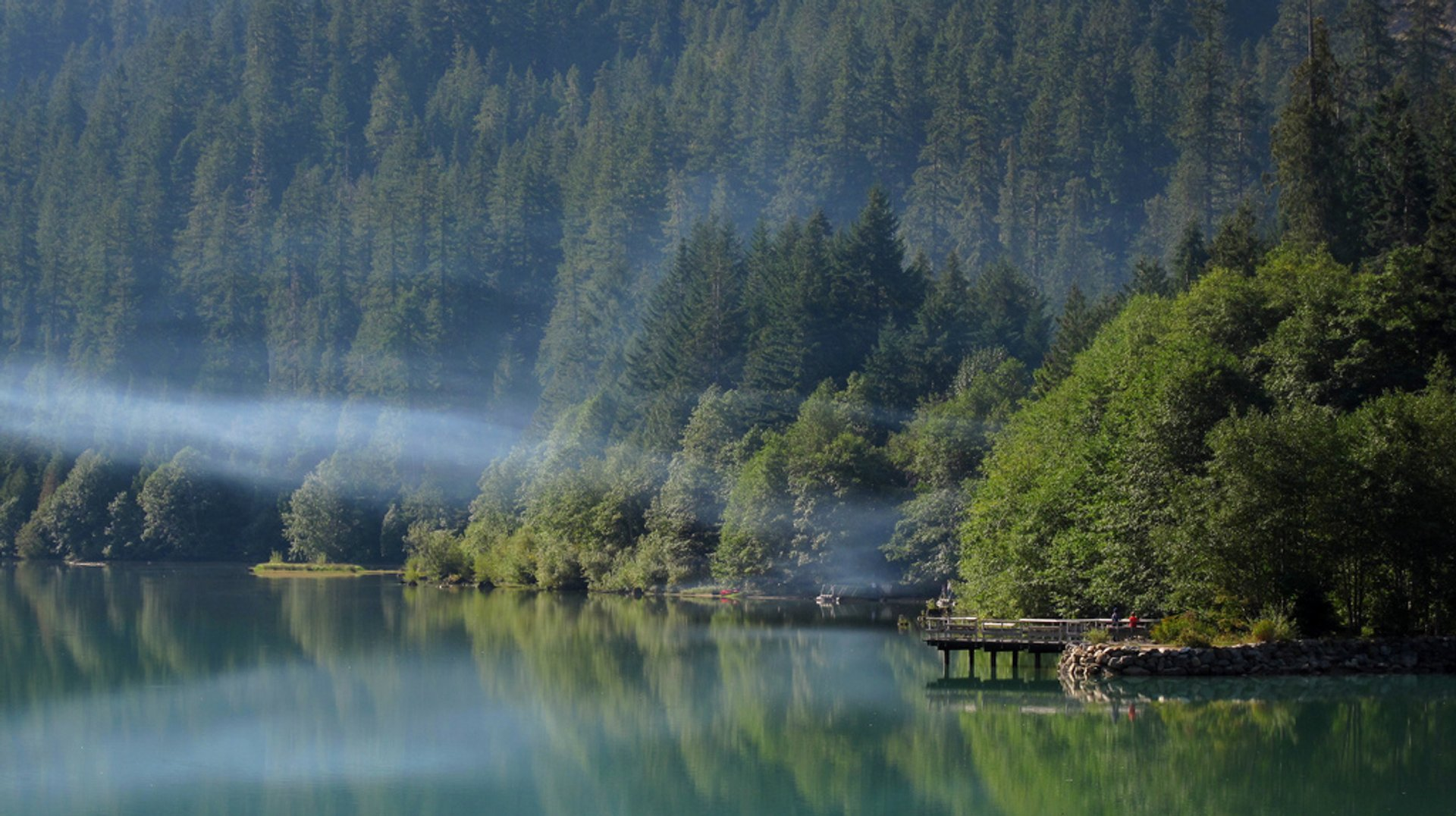 Fishing pier on Diablo Lake in Colonial Creek Campground, Washington 2020