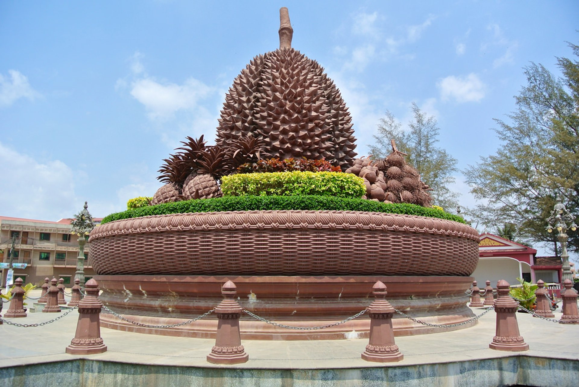 Durian roundabout in Kampot