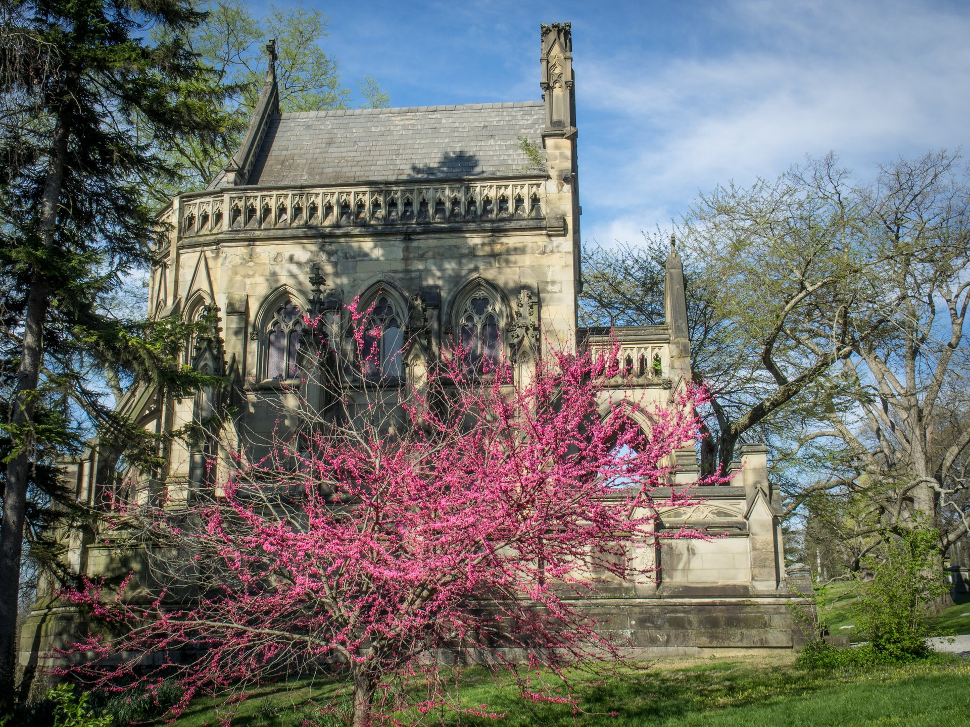 Spring blossoms surround the Dexter Mausoleum in Spring Grove Cemetery 2020