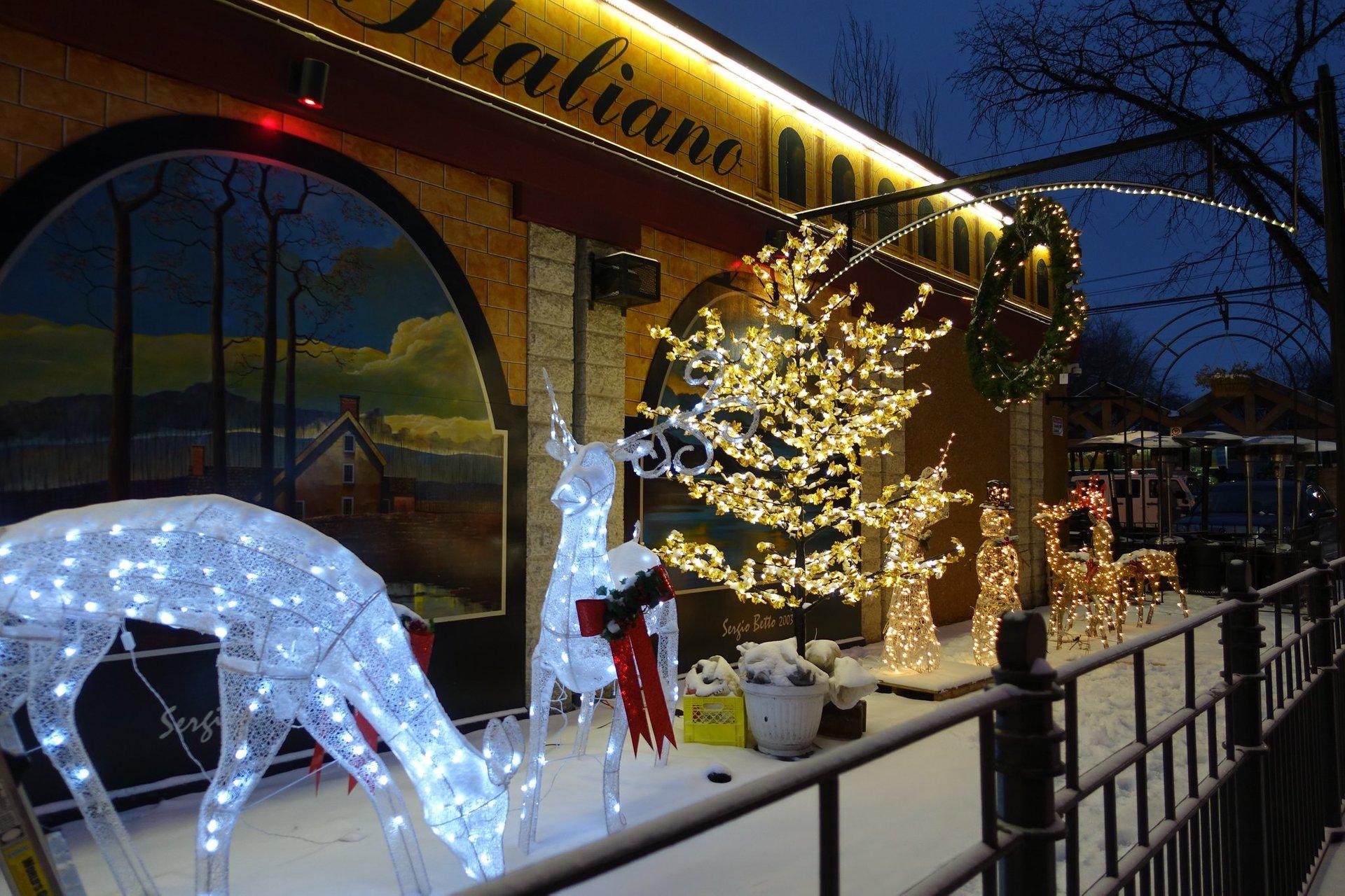 Christmas lights at Colosseo Ristorante Italiano, Winnipeg 2020