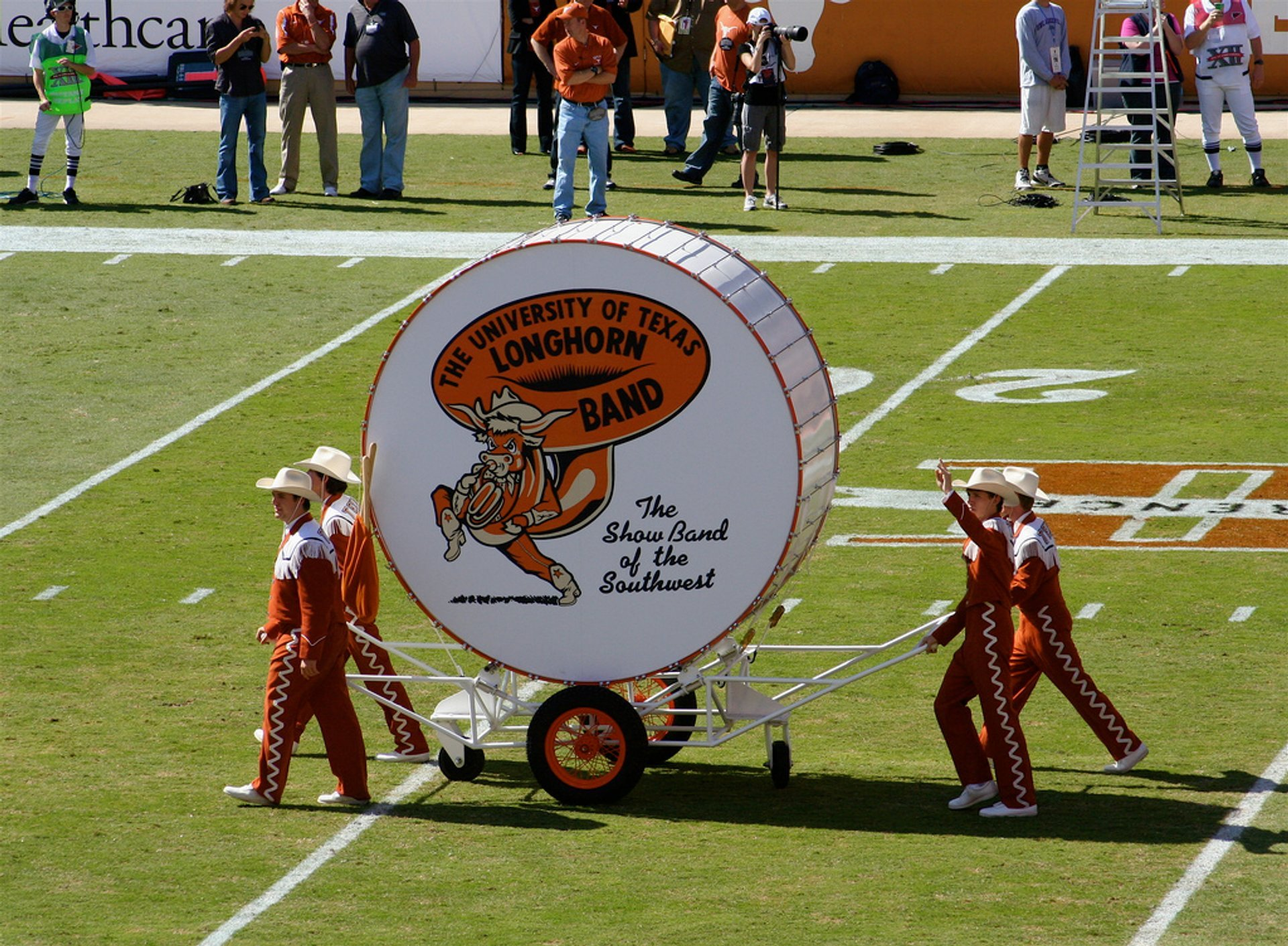 UT band rolls out Big Bertha, Darrell K Royal - Texas Memorial Stadium in Austin 2020