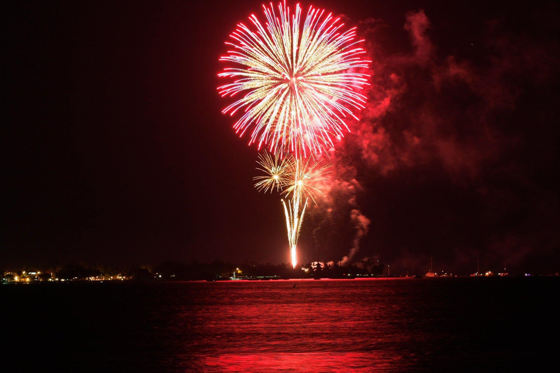 Lahaina fireworks taken from Ka'anapali Beach 2020
