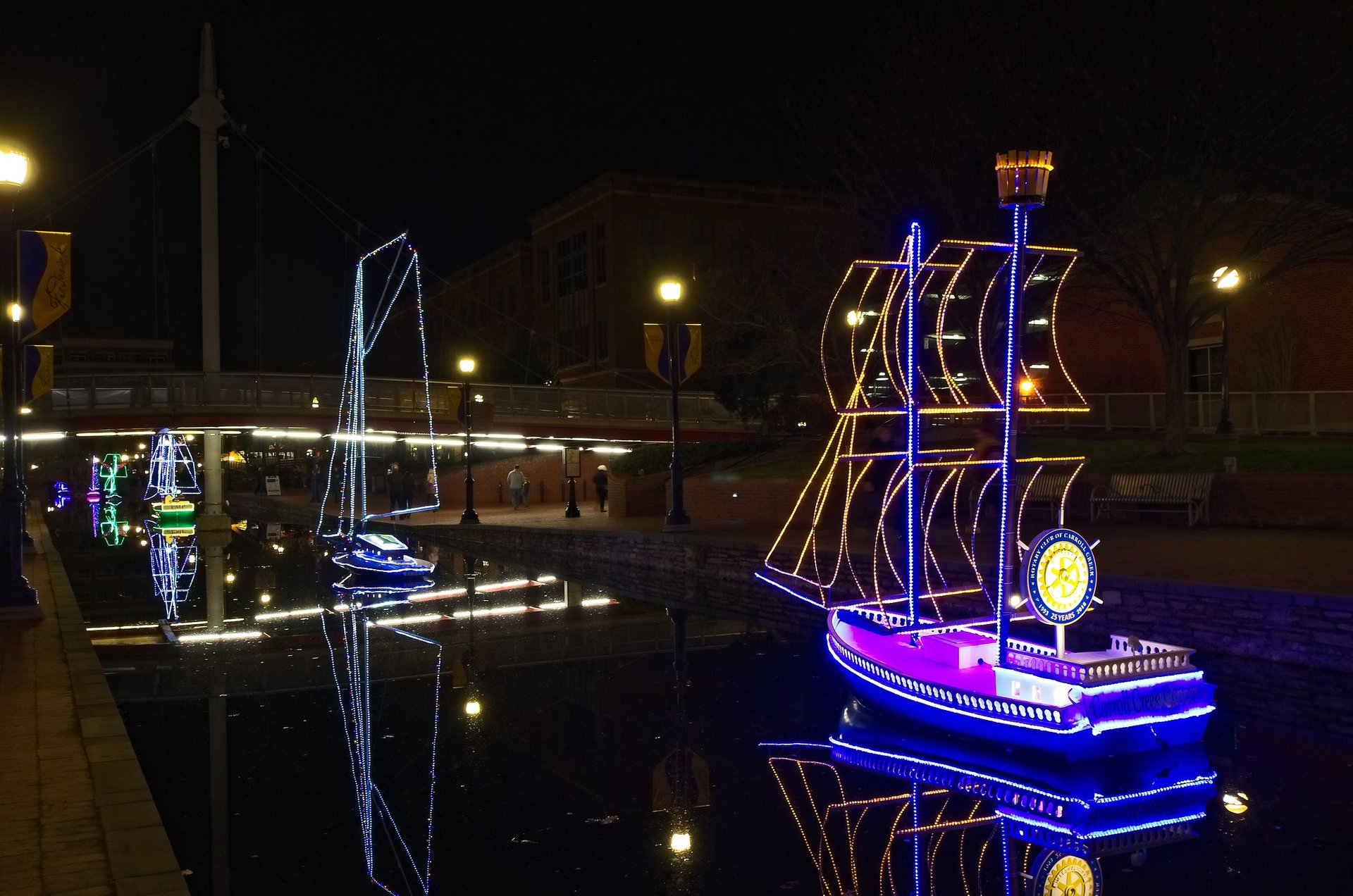 Boats on the Promenade all lit up for Christmas, Frederick 2020