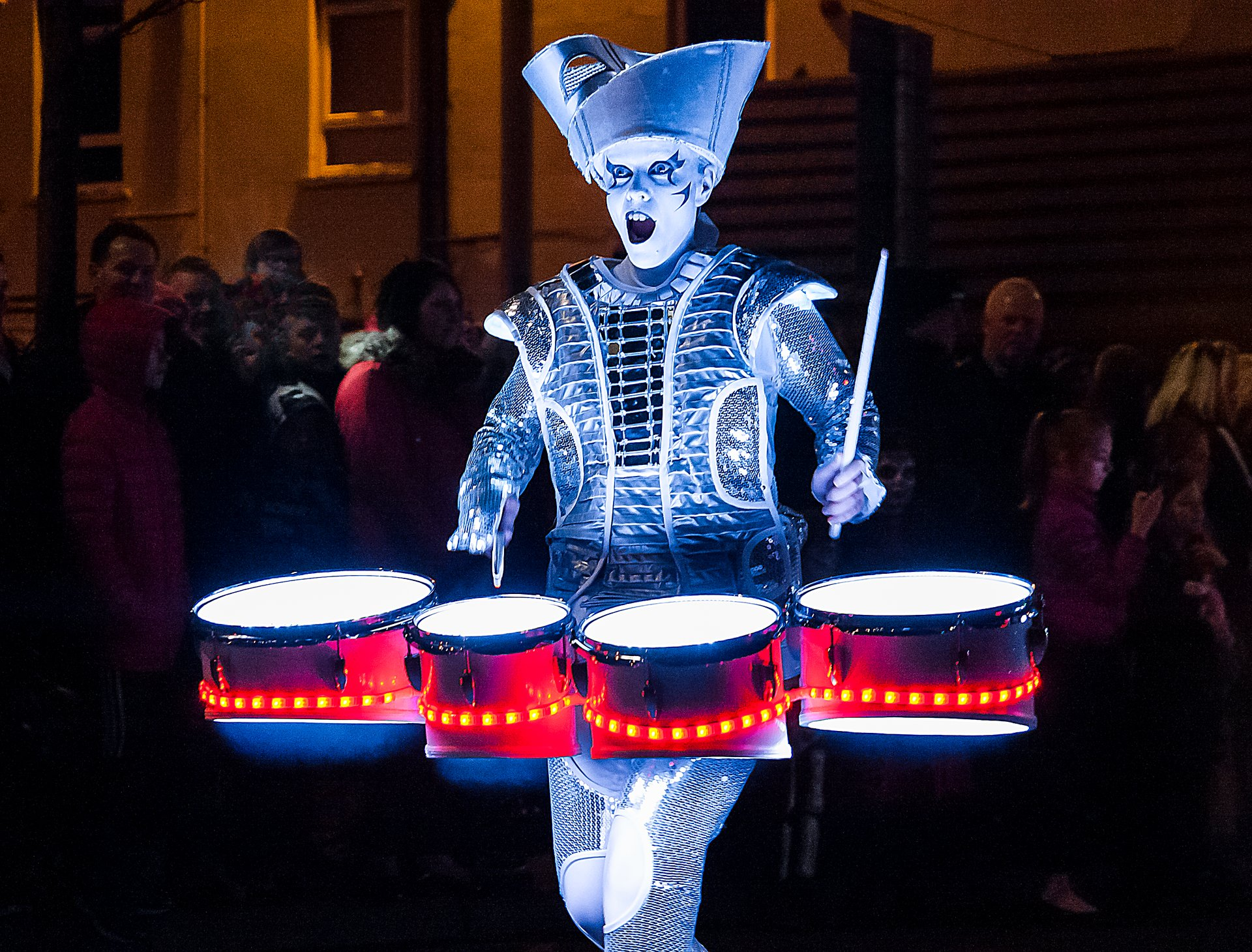 Illuminated drummer at the Derry Halloween Carnival 2020