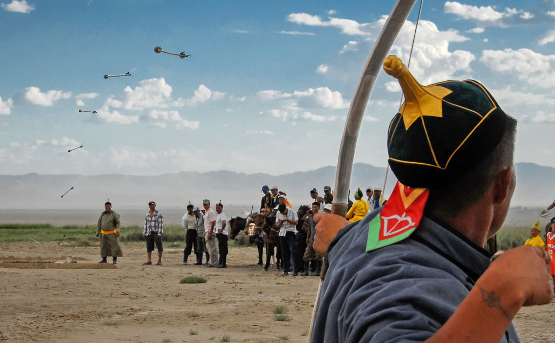 Archery competition during the Nadaam festival (this image is a composite of seven photos.) 2020