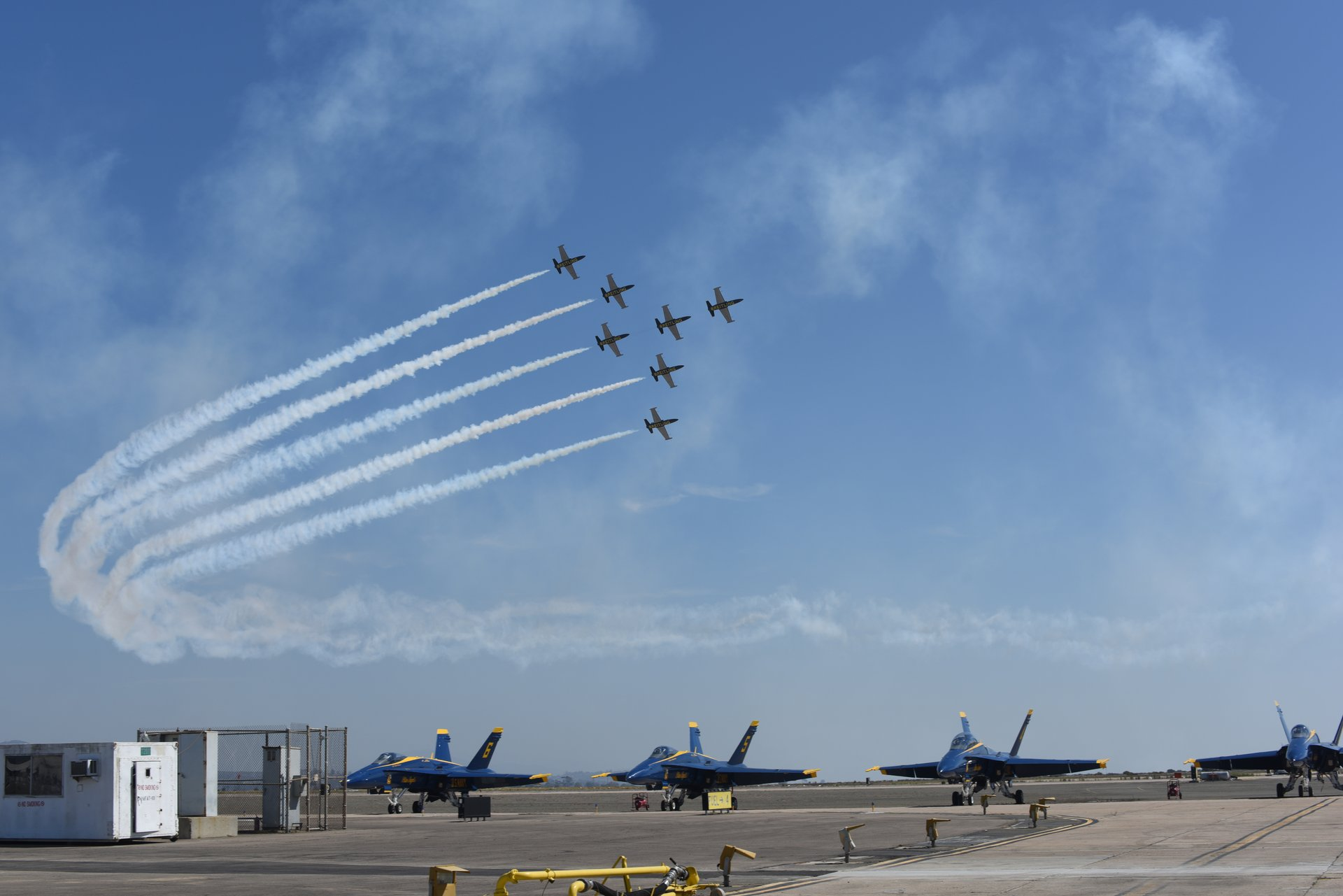 The Breitling Jet Team fly in formation over the Blue Angels 2020