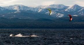 Kitesurfing on Nahuel Huapi
