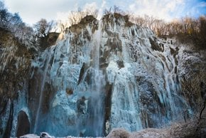 Frozen Waterfalls in Plitvice Lakes