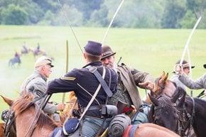 Reconstitución de la batalla de la guerra civil de Gettysburg