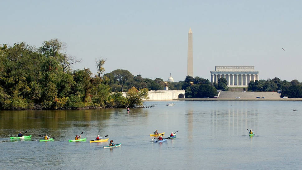 Kayakers enjoy a great view of the capital from the Potomac River on an early October day, 2008.