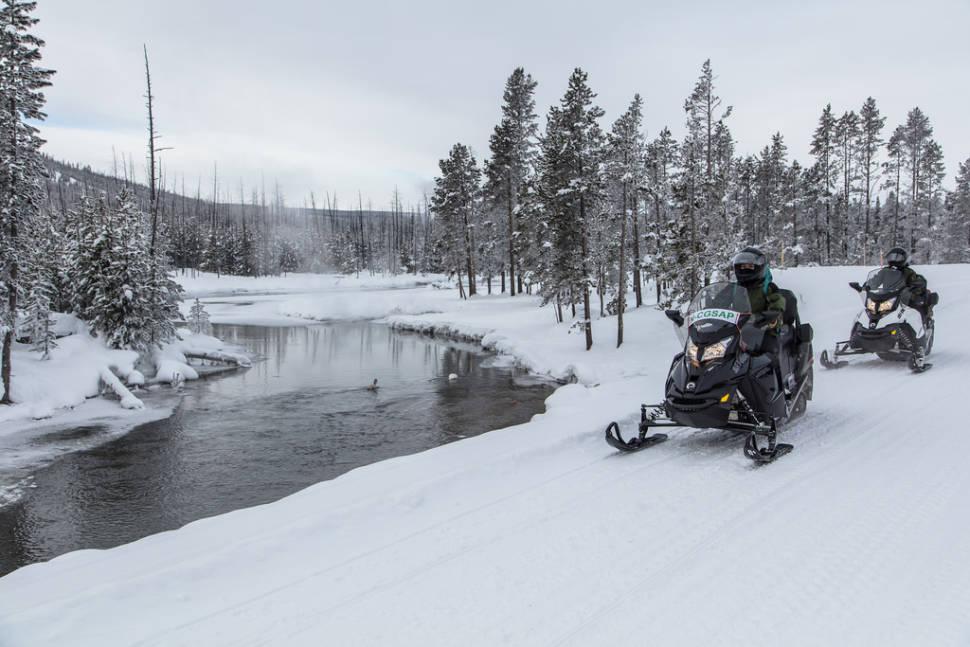 Snowmobilers near Gibbon RIver