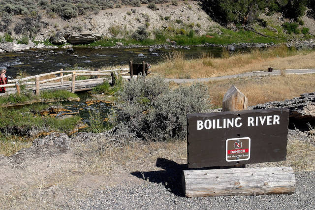 Swim in the Gardner River waters warmed up by the Boiling River flow