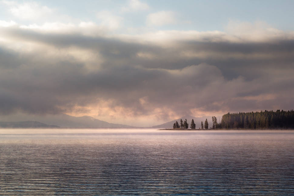 Morning over part of the East Bay of Yellowstone Lake, Wyoming
