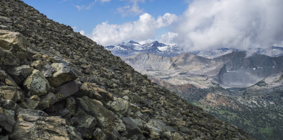 Lyell and Maclure Glaciers from Mount Dana